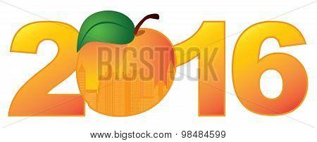 2016 Atlanta Georgia With Peach Color Vector Illustration