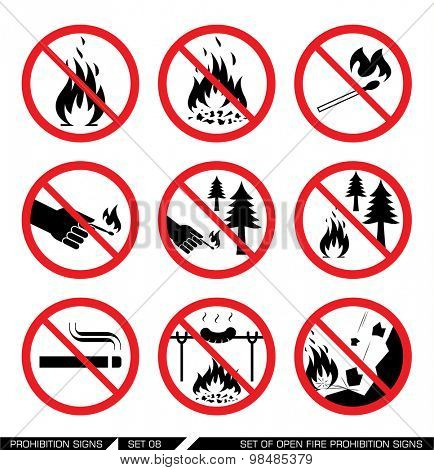 Set of open fire prohibition signs. Collection of prohibition signs. Open fire banned. No lighting fire in nature. Signs of danger. Signs of alerts. Fire icons.