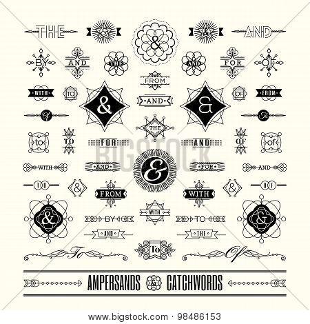 Set Of Catchwords Ampersands In Geometric Line Shape Art Deco Retro Vintage Frame