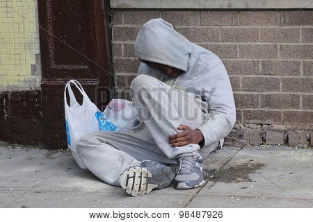 Homeless man at Houston Avenue in Soho