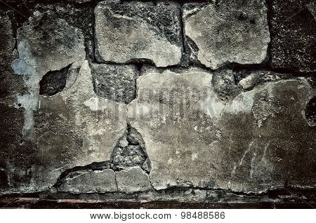 Grunge dirty brick wall with vintage and vignette tone - Horror and Scary Wall background