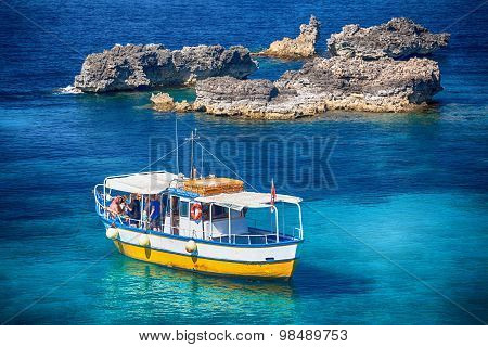 Sightseeing Boat At Comino Island, Malta