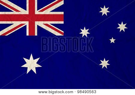 Flag Of Australia With Vintage Old Paper
