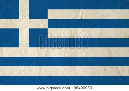 Flag Of The Greece With Vintage Old Paper
