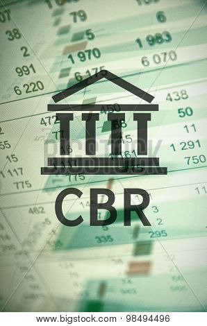 Building icon with inscription CBR. Financial data on computer  screen. Multiple exposure poster