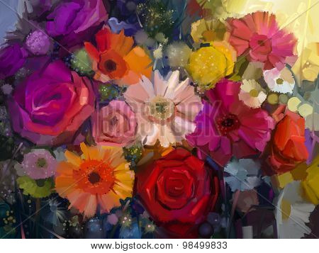 Oil Painting - Colorful Bouquet of rose daisy and gerbera flowers