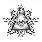 All seeing eye pyramid symbol in the engraving tattoo style. Freemason and spiritual, illuminati and religion, triangle magic, vector illustration poster
