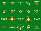 Air drone and quadcopter tool icons. Icon set style: flat vector bicolor images, orange and yellow symbols, isolated on a green background. poster