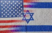 Cracked blended mix of USA and Israel flags signifying the recent clash and rivalry between the nations and specifically between President of the US and the Prime Minister of Israel poster
