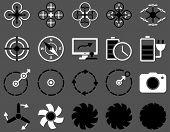 Air drone and quadcopter tool icons. Icon set style: flat glyph bicolor images, black and white symbols, isolated on a gray background. poster