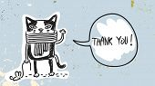 Funny Cat with speak balloon, saying thank you. Thank you card hand drawn doodle vector illustration poster