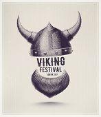 Viking helmet and beard, Jorvik viking festival. Illustration contains transparency and blending effects, eps 10 poster