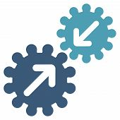 Integration icon from Business Bicolor Set. Vector style: bicolor flat symbol, cyan and blue colors, rounded angles, white background. poster