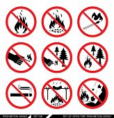 Set of open fire prohibition signs. Collection of prohibition signs. Open fire banned. No lighting fire in nature. Signs of danger. Signs of alerts. Fire icons. poster