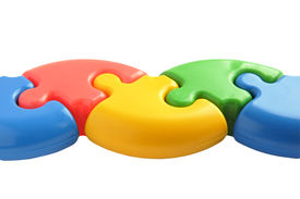 Colored puzzle of five parts