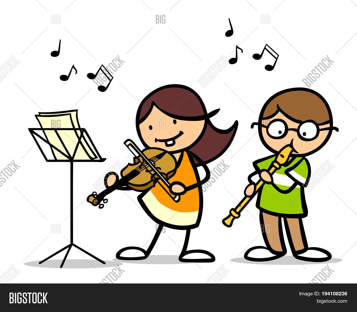 cartoon music children playing instrument musical