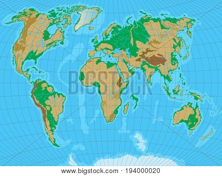 World map with relief. All reliefs are separated in editable layers. Vector illustration.