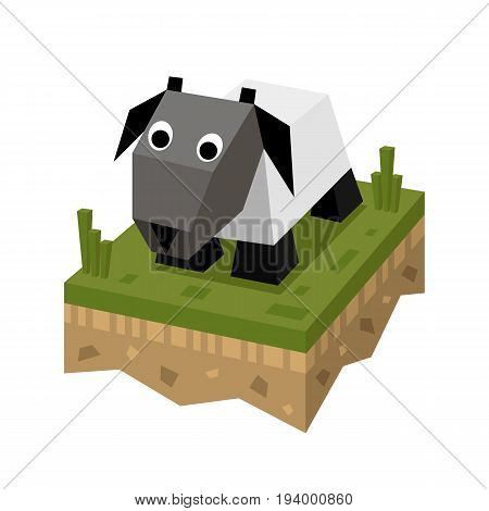 Isometric flat white sheep on the tile of ground with grass. Geometric ram in isometry.  Isometric vector illustration - mutton on farm 3d land or soil tile.
