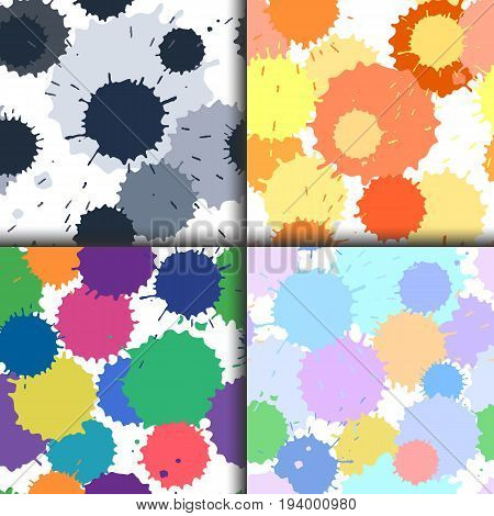 Set of ink and paint spots seamless patterns, vector splattered blots background, bright and pastel colors