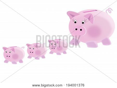 illustration on the concept of piggy bank : to multiply your savings