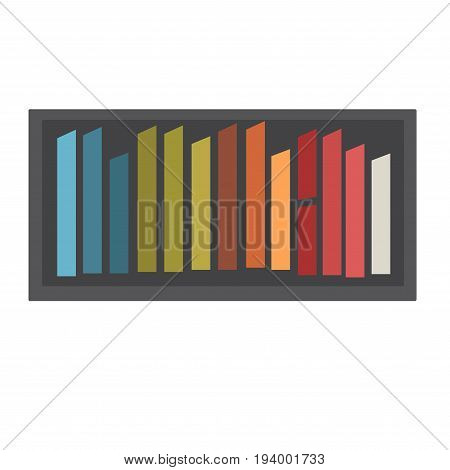 Colorful chalk collection on black tray isolated on white. Vector closeup illustration in flat design of fragile tool for writing on school blackboards or for childrens painting outdoors on asphalt