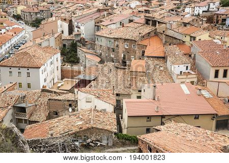 a view over Montalban town, province of Teruel, Spain