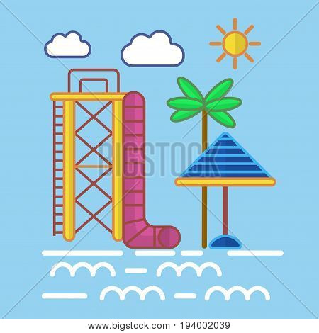 Big water slide with pink tube and high yellow ladder, striped blue sun umbrella and tall palm beside water and under bright sun and white clouds flat vector illustration on blue background.