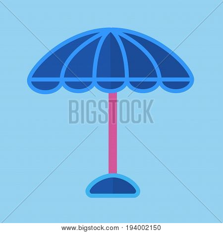 Blue round sun umbrella with pink stick isolated cartoon flat minimalistic vector illustration on light blue background. Common necessary beach equipment for sunbeams protection and shadow creation.