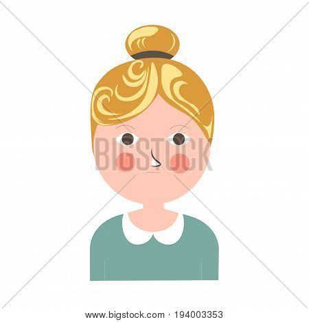 Blonde girl with tuft, pink cheeks, brown eyes, round face and small mouth in turquoise blouse with retro collar isolated vector illustration on white background. Cartoon funny female portrait.