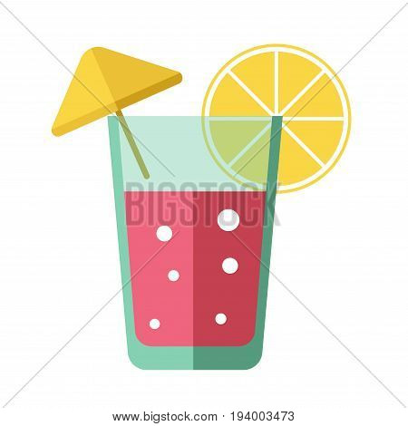 Fresh pink cocktail with bubbles, lemon slice and yellow decorative umbrella isolated on white. vector colorful illustration in flat design of long glass with cooling summer beverage and decorations