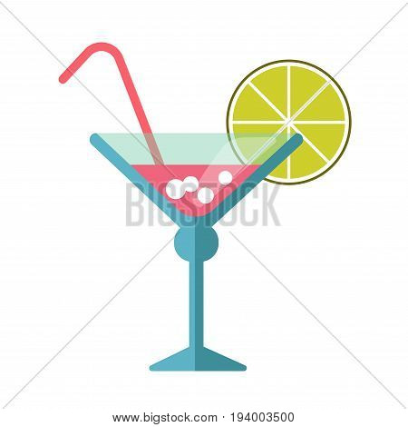 Pink cocktail in blue martini glass with folded thin straw and round lime slice on edge isolated cartoon flat vector illustration on white background. Sweet summer alcohol drink from beach bar.