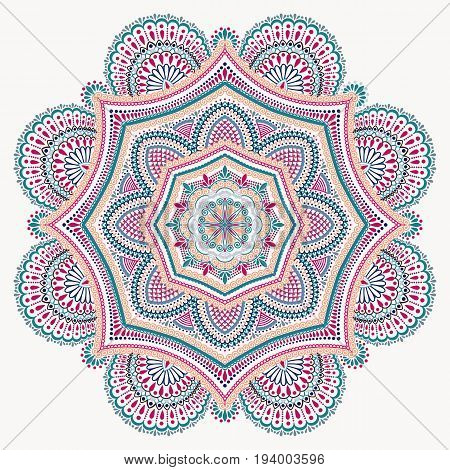 Blue pink mandala isolated on white background. Decorative round ornament. Anti-stress therapy pattern. Weave design element. Yoga logo, decoration for meditation poster. Unusual flower vector.