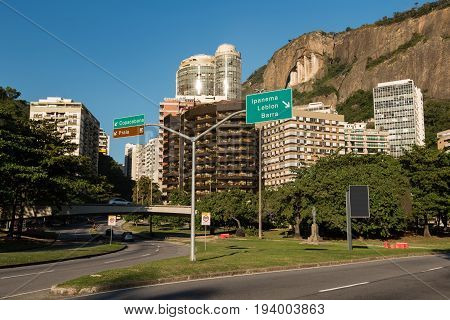High-rise residential buildings and mountain at neighborhood Lagoa, the third most expensive neighborhood to live in South America, Rio de Janeiro, Brazil