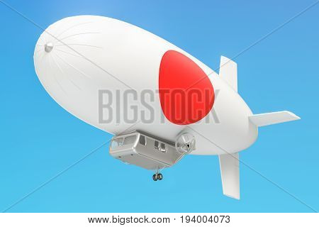 Airship or dirigible balloon with Japanese flag 3D rendering