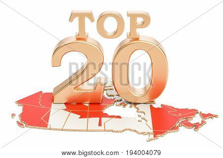 Canadian Top 20 concept 3D rendering isolated on white background