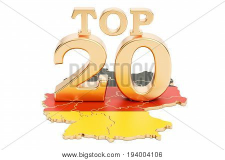 German Top 20 concept 3D rendering isolated on white background