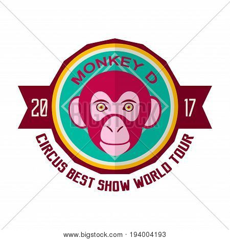 Monkey D circus best show world tour 2017 promotional emblem. Performance with participation of trained apes. Animals face inside circle with signs isolated vector illustration on white background.