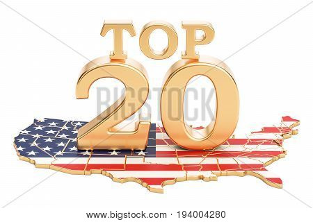 USA Top 20 concept 3D rendering isolated on white background