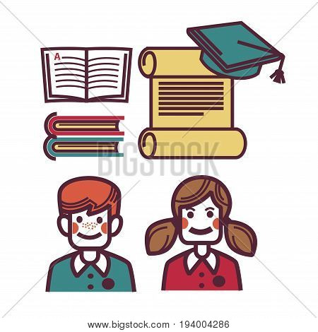 School objects as open book, rolled list with student's hat, male and female young pupils isolated on white vector colorful poster in graphic design. Closeup illustration of things for studying
