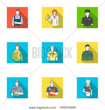 Doctor, worker, military, artist and other types of profession.Profession set collection icons in flat style vector symbol stock illustration .