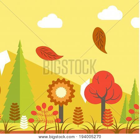 Autumn landscape with orange leaves that fall down, yellow grass, withered herbs, evergreen spruce, trees with colorful foliage, high mountains and small white clouds cartoon vector illustration.