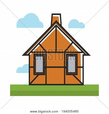 Brown residential house decorated with dark thin lines isolated on green grass under blue clouds. Vector illustration in graphic design of building for living with one floor, chimney on roof
