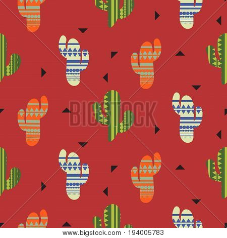 Cactus plant vector seamless pattern. Mexican style color cacti textile print. Ethnic surface print on dark red wallpaper background.