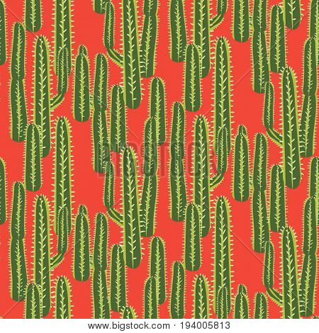 Cactus plant vector seamless pattern. Abstract desert nature fabric print. Dense green cacti on red for wallpaper and textile apparel.
