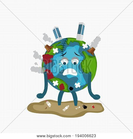 erath globe sad sick tired of polution global warming deforestation full of dirty garbage environmental damage vector
