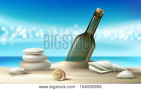 illustration of empty glass bottle lying on a sandy beach with seashells and pebbles against a turquoise tropical sea and sky. Poster on the topic of environmental pollution in realistic style