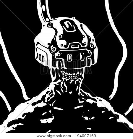 The helmet of virtual reality. Science fiction. Vector illustration. Original character
