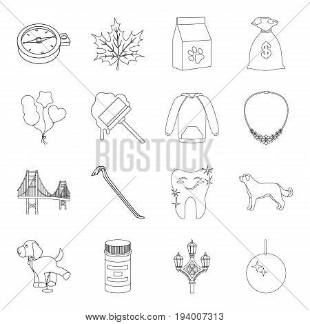 medicine, crime, fashion and other  icon in outline style.finance, animal, music icons in set collection.