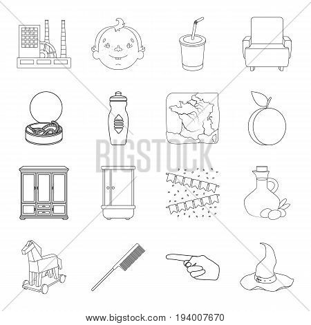fitness, plumbing, history and other  icon in outline style.hairdresser, food, fishing icons in set collection.