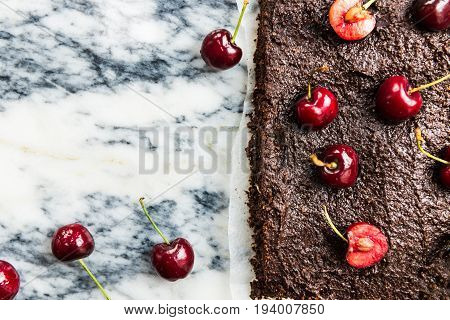 Double Chocolate Brownies With Cherries